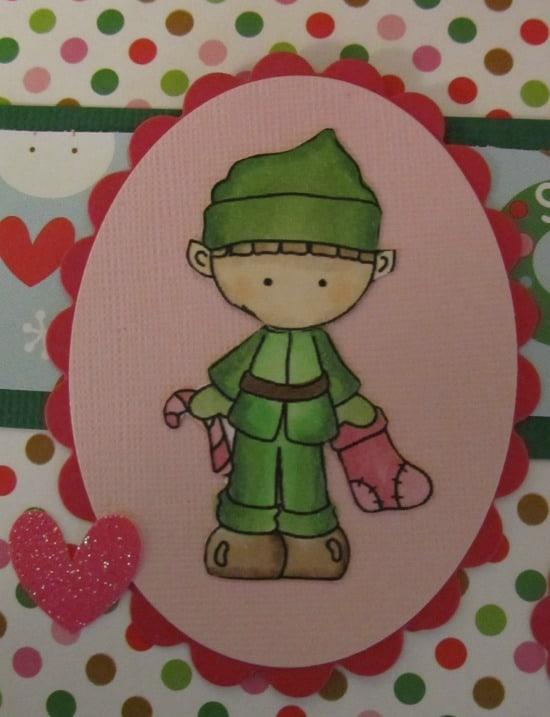 digi garden elf card closeup