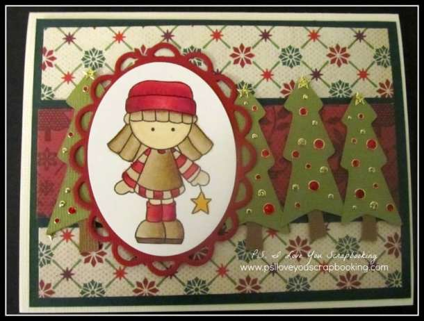 Here are lots of ideas for Handmade Christmas Cards. They can be easy and simple or they can be complex. Rubber stamps, Cricut die cuts, the Spellbinder, and punches are all great tools when creating Christmas Greeting Cards. Handmade Christmas Card Using Digi Garden and Christmas Trees from Doodlecharms Cricut Cartridge