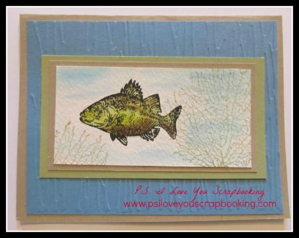 Stampin Up Card using the fish in the By The Tide Stamp Set - This great card is made using a watercolor technique with the aquawriters and watercolor papers. It really created a realistic looking fish and watery background!