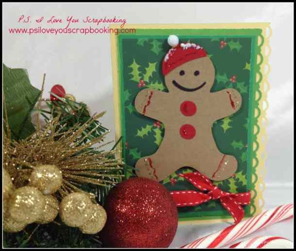 Gingerbread man card using the Cricut - Here are lots of ideas for Handmade Christmas Cards. They can be easy and simple or they can be complex. Rubber stamps, Cricut die cuts, the Spellbinder, and punches are all great tools when creating Christmas Greeting Cards.