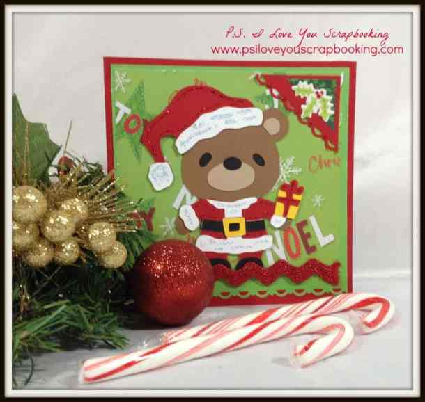 Teddy Bear Parade Cricut Cartridge Santa Christmas Card - Here are lots of ideas for Handmade Christmas Cards. They can be easy and simple or they can be complex. Rubber stamps, Cricut die cuts, the Spellbinder, and punches are all great tools when creating Christmas Greeting Cards.