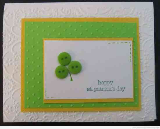 Easy St. Patrick's Day Card using the Cuttlebug and buttons - St. Patrick's Day Cards are easy to make with an assortment of green and white papers, shamrock die cuts, pot of gold stickers, buttons, rhinestones, glitter, and foam shapes.