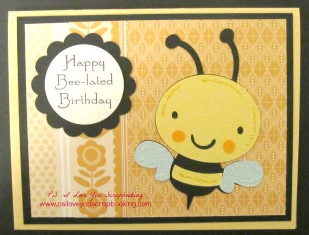 Create a Critter Cricut Cartridge Bee-lated Birthday card