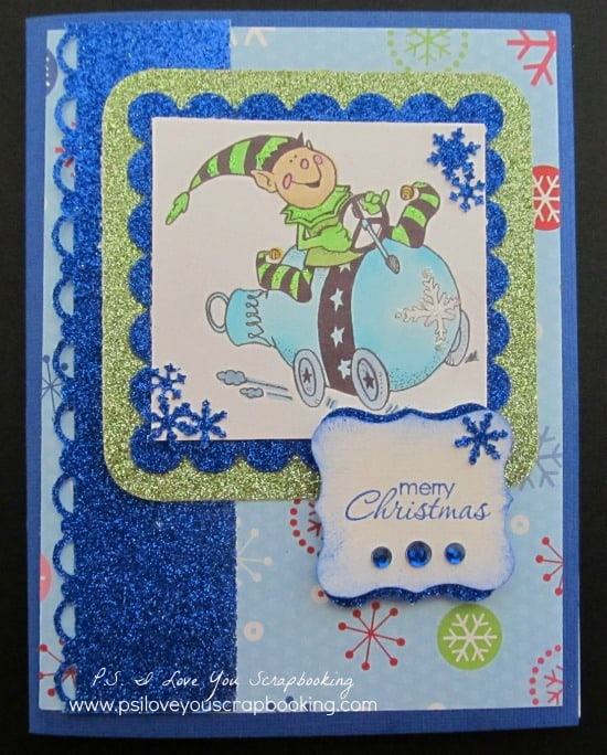 Elf Glitter Card - Handmade Christmas Card - Here are lots of ideas for Handmade Christmas Cards. They can be easy and simple or they can be complex. Rubber stamps, Cricut die cuts, the Spellbinder, and punches are all great tools when creating Christmas Greeting Cards.