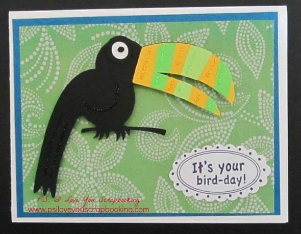 Life is a Beach Cricut cartridge toucan birthday card
