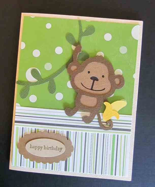 Monkey Cricut Birthday Card using Create A Critter Cricut Cartridge