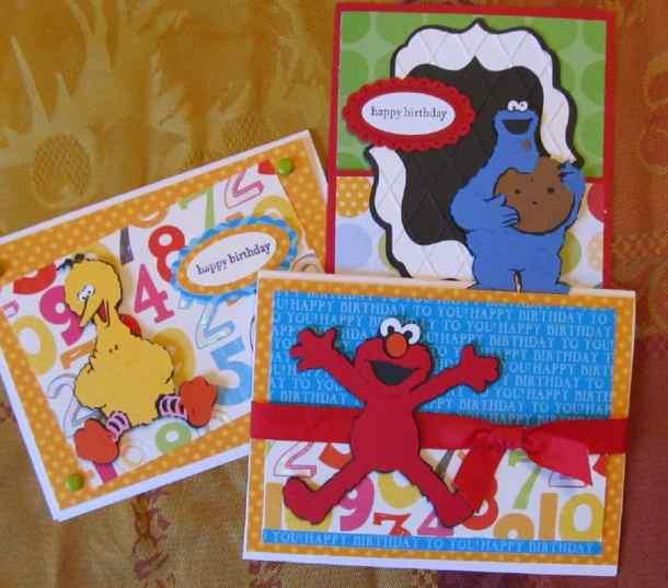 Sesame Street and Friends Cricut Birthday Cards - Big Bird, Elmo, and Cookie Monster
