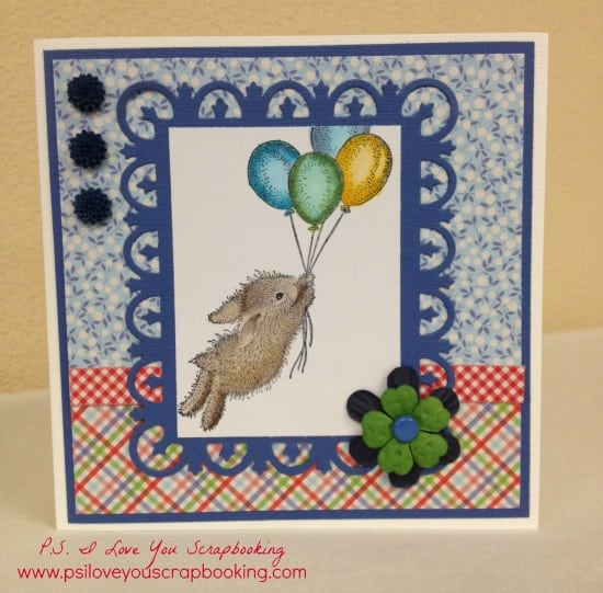 House Mouse Bunny with Balloons Card - This stamp is so cute and great for many occasions. I colored it with Copic Markers. It's an older stamp, but still one of my favorites.