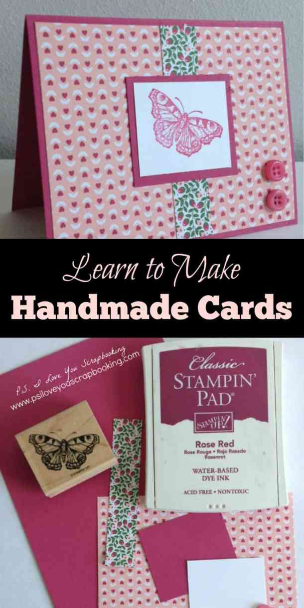 Learn to Make Handmade Cards - Here is everything that you need to know about learning this wonderful hobby. There is a supply list to get you started, tips and tricks, and a simple card for you to follow.