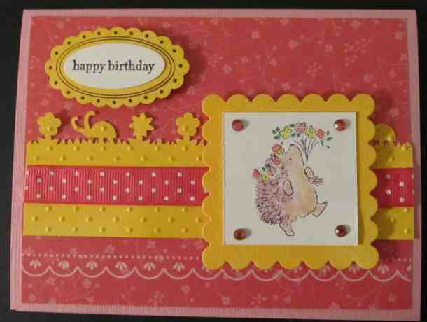 Penny Black rubber stamps hedgehog birthday card