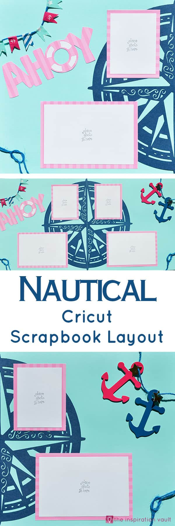Nautical Cricut Scrapbook Layout Craft Tutorial - Make this awesome Nautical Cricut Layout using the Edge to Edge and Create A Friend Cricut Cartridges. The washi tape flags were fun to make and a great addition to this page. You will be ready to scrapbook your sailing, fishing trip, or boating photos after creating this great scrapbook layout.