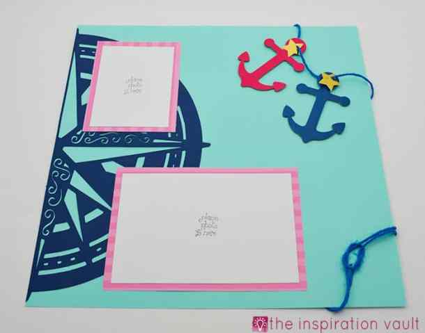 Nautical Cricut Scrapbook Layout Right Page - Nautical Cricut Scrapbook Layout Craft Tutorial - Make this awesome Nautical Cricut Layout using the Edge to Edge and Create A Friend Cricut Cartridges. The washi tape flags were fun to make and a great addition to this page. You will be ready to scrapbook your sailing, fishing trip, or boating photos after creating this great scrapbook layout.