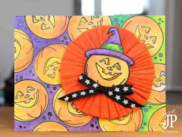 Handmade Halloween Cards - Colored Pencil Jack-o-lantern Card by Jennifer Priest