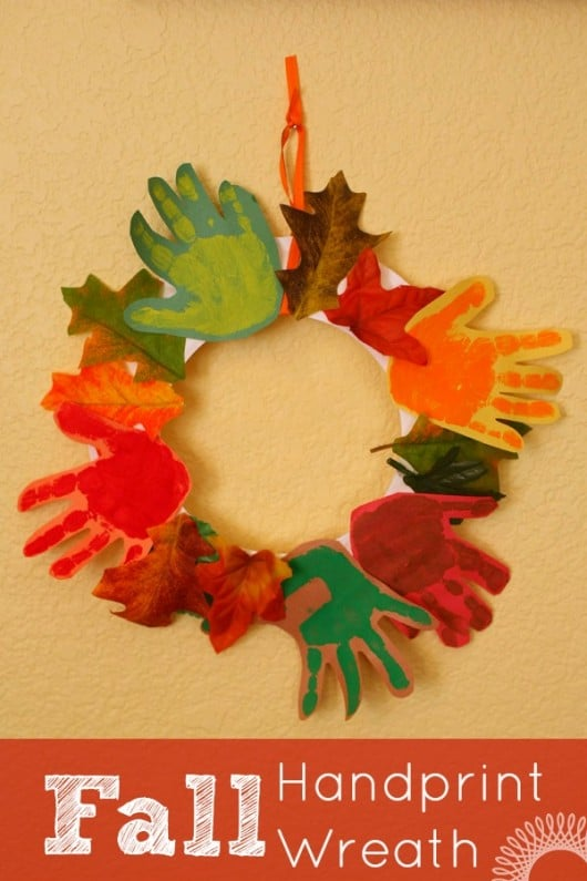 Fall Handprint Wreath for Kids to Make - Here are 20 Fall Paper Crafts to enjoy with your friends and family. Fall Home Decor, Fall and Thanksgiving Handmade Cards, Fall Printables, Kids' Crafts leaves, pumpkins, feathers, and so much more!
