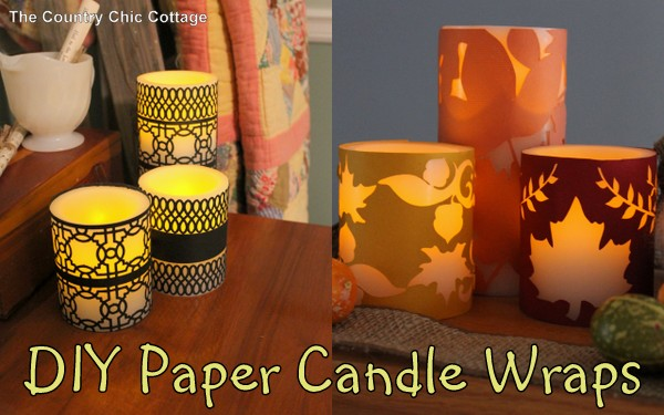 DIY Paper Candle Wraps - Here are 20 Fall Paper Crafts to enjoy with your friends and family. Fall Home Decor, Fall and Thanksgiving Handmade Cards, Fall Printables, Kids' Crafts leaves, pumpkins, feathers, and so much more!