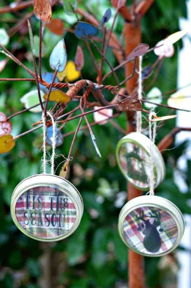 Mason Jar Lid Ornaments - Handmade Christmas Ornaments are so much to create during the holiday season. Here are 65+ Homemade Christmas Ornaments for Kids and Adults. They are broken down into felt ornaments, Christmas balls, country and rustic Christmas ornaments, and Christmas ornaments that kids can make.