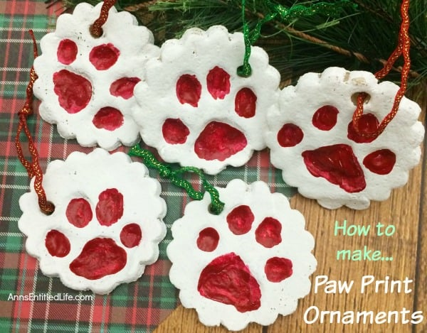 Paw Print Ornaments - Handmade Christmas Ornaments are so much to create during the holiday season. Here are 65+ Homemade Christmas Ornaments for Kids and Adults. They are broken down into felt ornaments, Christmas balls, country and rustic Christmas ornaments, and Christmas ornaments that kids can make.