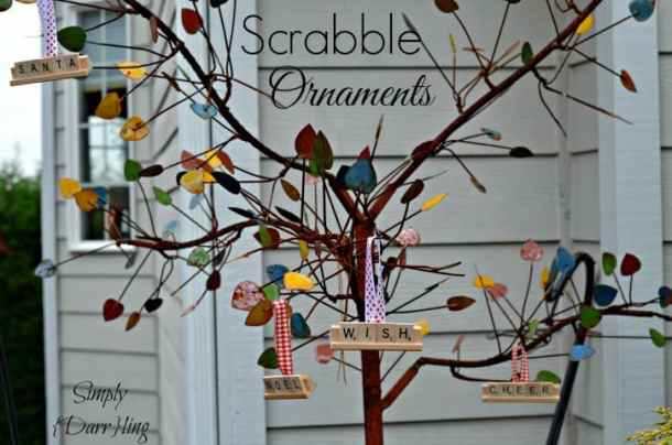 Scrabble Tile Christmas Ornaments - Handmade Christmas Ornaments are so much to create during the holiday season. Here are 65+ Homemade Christmas Ornaments for Kids and Adults. They are broken down into felt ornaments, Christmas balls, country and rustic Christmas ornaments, and Christmas ornaments that kids can make.