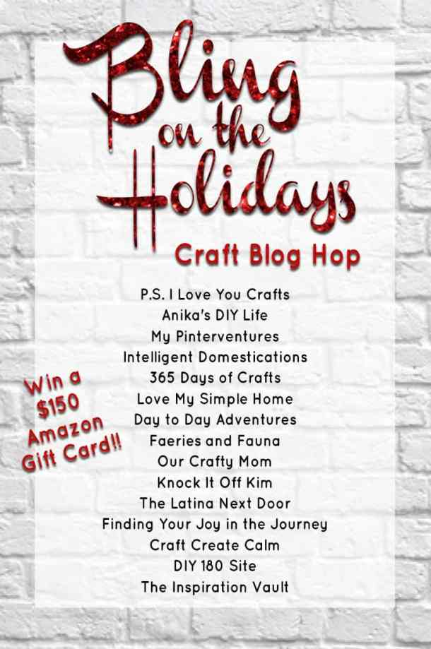 Bling On The Holidays Blog Hop - 15 crafty blogs have awesome Holiday Projects featuring, glitter, shimmer, rhinestones, sparkles, and BLING! There are lots of great Christmas decorations, ornaments, and gifts to inspire you for this Holiday Season.