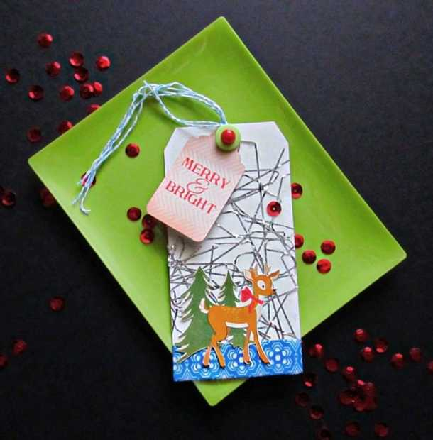 Holiday tinsel tag - Here are more than 30 Christmas Paper Crafts for you to try this season. There are handmade Christmas Cards, decorations, Christmas ornaments, Gift wrapping ideas, gift tags, and printable Christmas decor. So many great ideas!