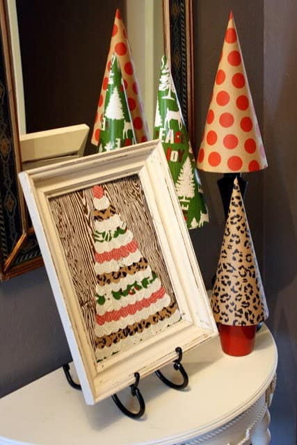 Wrapping Paper Art - Here are more than 30 Christmas Paper Crafts for you to try this season. There are handmade Christmas Cards, decorations, Christmas ornaments, Gift wrapping ideas, gift tags, and printable Christmas decor. So many great ideas!
