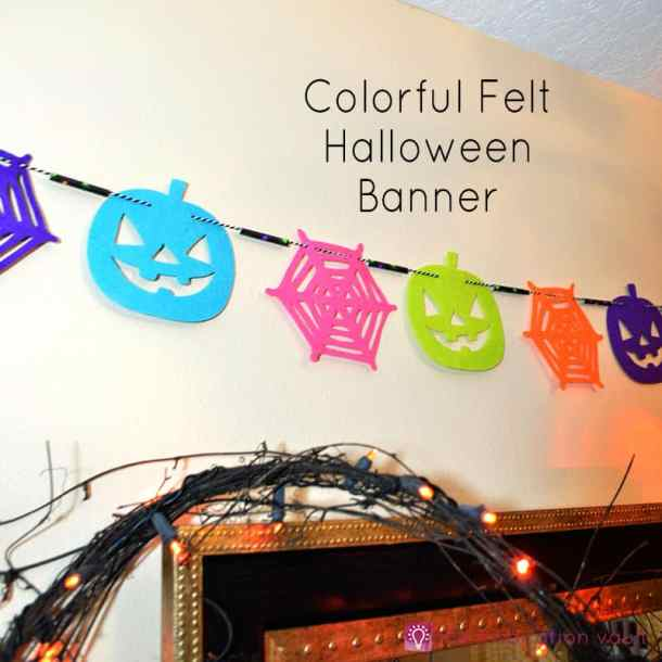 Colorful Felt Halloween Banner - DIY Pennant Banners can be made for any holiday or occasion. They look great hanging on a mantel as part of your home decor or on the wall for a party decoration. They are easy to make to fit any theme or budget. They are particular popular for birthday parties, and bridal showers,