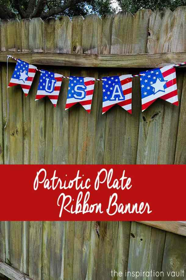 Patriotic Banner made from Paper Plates - DIY Pennant Banners can be made for any holiday or occasion. They look great hanging on a mantel as part of your home decor or on the wall for a party decoration. They are easy to make to fit any theme or budget. They are particular popular for birthday parties, and bridal showers,