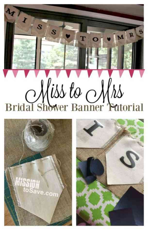 Miss to Mrs Bridal Shower Banner - DIY Pennant Banners can be made for any holiday or occasion. They look great hanging on a mantel as part of your home decor or on the wall for a party decoration. They are easy to make to fit any theme or budget. They are particular popular for birthday parties, and bridal showers,