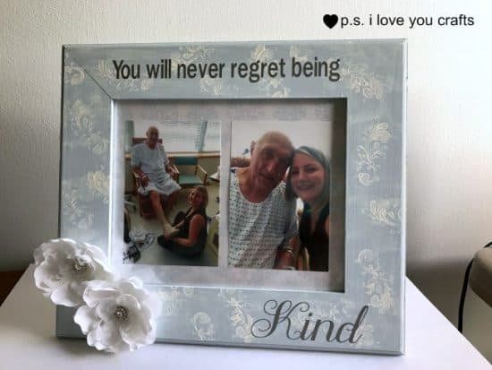 Cricut Explore Kindness Picture Frame - You will never regret being kind. I made this using a plain wood frame painted with chalk paint by Plaid. I added the saying using the Cricut Explore. All of the supplies and instructions are in the post and I include a video on how to weed and use transfer tape to apply the saying.