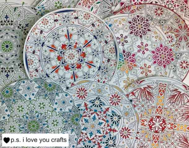 Cut your pages in circles - This Adult Coloring Book Project is a great way to display your completed coloring book pages. Hang these to decorate your craft room!