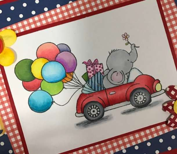 Ella in a convertible with a bunch of balloons. Wild Rose Studio has the most adorable stamps for making greeting cards. There's Bella the Elephant, Bluebell the Deer, and so many more cute critters. Wild Rose Studio stamps and cards made with them are beautiful. They also have sentiment stamps, steel dies, papers, and printed panels.