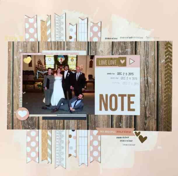 This wedding scrapbook layout uses up scraps to create an awesome scrapbook page.