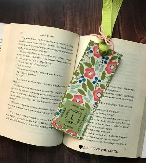 Make a bookmark that's personalized using a custom address stamp from Simply Stamps, scrapbook paper, ribbon, and cardstock.