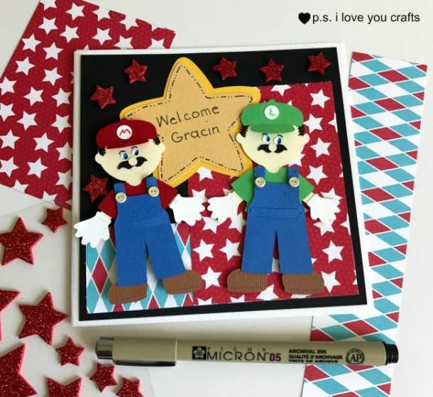 Make a Mario Brothers Cricut Card using the Cricut Explore. Thank you Ken's Kreations for the inspiration for this card. Ken used the Everyday Paper Dolls and Paper Doll Dress Up Cricut Cartridges to create Mario and Luigi from the popular Super Mario video game.
