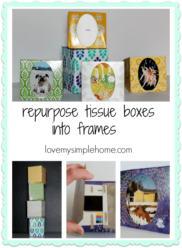 Repurpose tissue boxes into picture frames. This is an easy craft that only uses a few supplies. Kids can make them too!