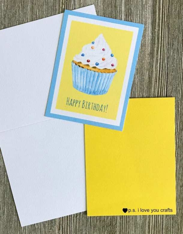 Free Cupcake Printable Birthday Card Ps I Love You Crafts