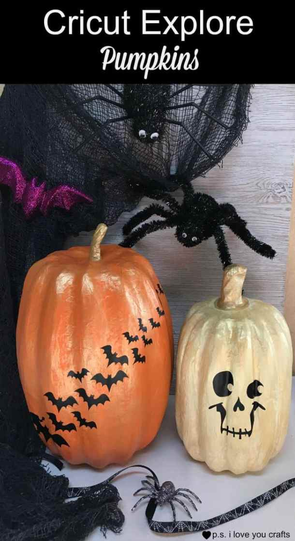 These Cricut Explore Pumpkins start with paper mache pumpkins painted in cream and orange with gold over top. The shapes were cut with the Cricut Machine and make a great decoration for your home or Halloween Party.