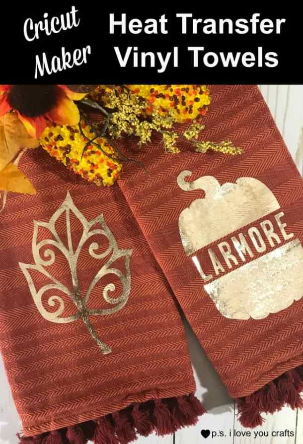 Use the Cricut Maker or Cricut Explore to make these beautiful Cricut Kitchen towels. Post includes video to show you how to design the personalized pumpkin in Cricut Design Space.
