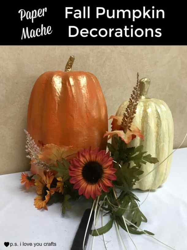 Turn paper mache pumpkins into beautiful decorations for your home for fall. You can paint them and add gold accents or flowers, acorns, and pine cones.
