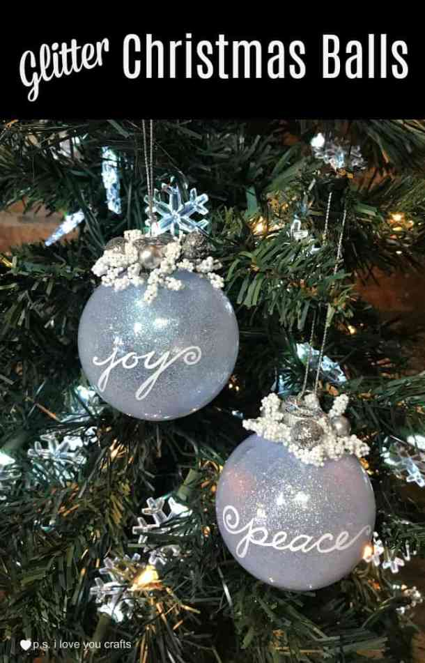 Make Glitter Christmas Ball Tree Ornaments using Pledge Floor Care, clear Glass Christmas Balls, and the Cricut Maker. #Christmasornament #cricutmaker #cricut #glitterchristmasballs
