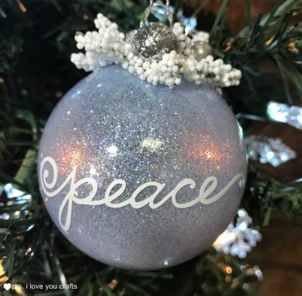 make glitter christmas ball tree ornaments using pledge floor care clear glass christmas balls - Glass Christmas Balls