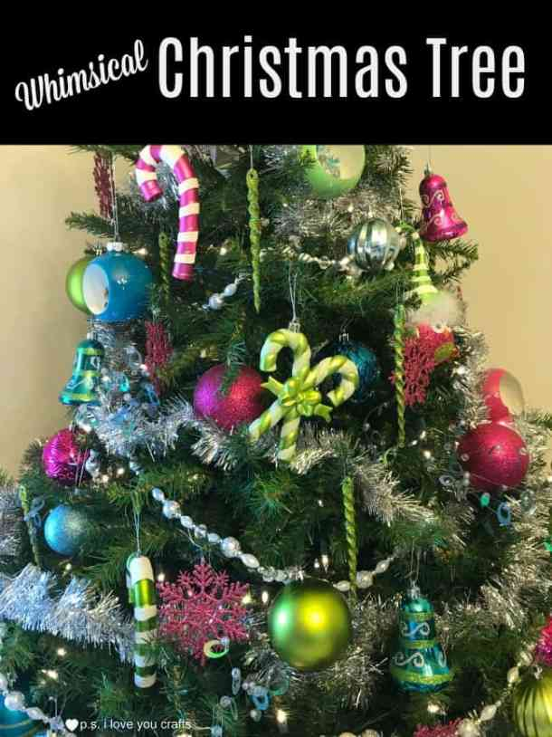 Whimsical Christmas Tree with pink, teal, and lime green ornaments.