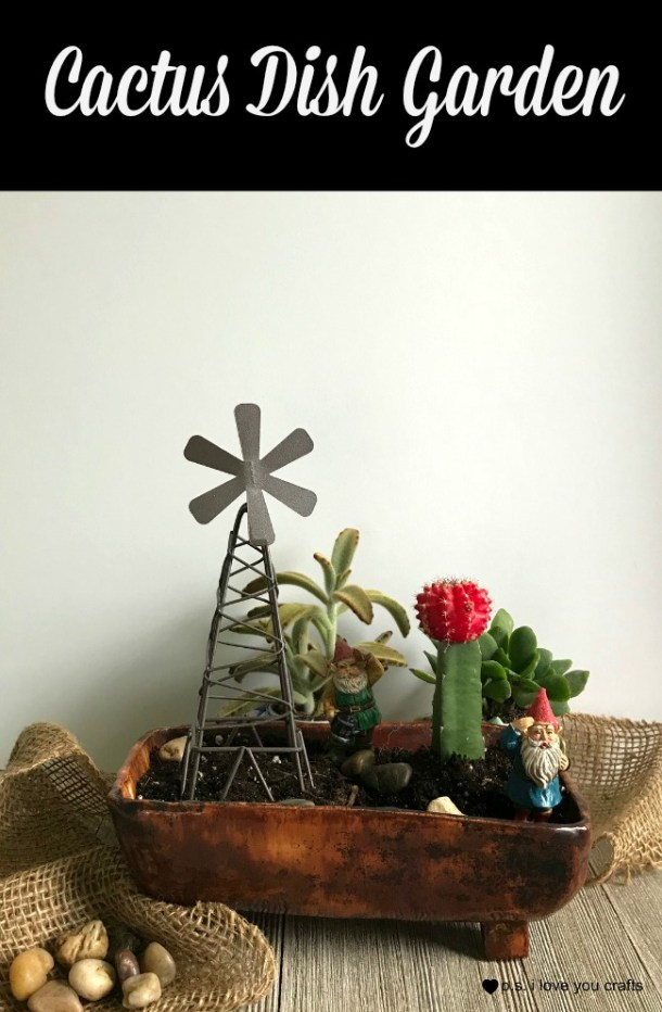Make a Cactus and Succulent Dish Garden using a thrift store container.  Add fairy garden gnomes, windmill, and rocks.  Learn to take care of your cactus dish garden. #cactus #succulent #dishgarden #thriftstore