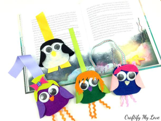 penguin owl felt bookmark as an creative outlet for kids and adults. Gift idea for bookworms