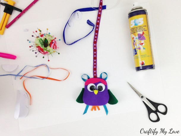 fun mix and match kids craft felt owl bookmark art project