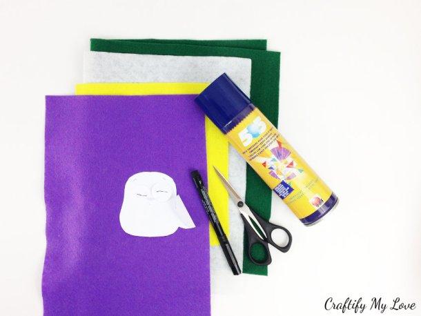 supplies for DIY felt owl bookmark