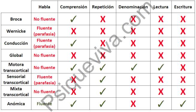 Tabla comparatica de los distintos tipos de afasia