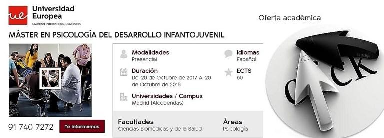 """Máster en Psicología del Desarrollo Infantojuvenil, enlace a """"oferta académica"""" de la Universidad Europea de Madrid"""