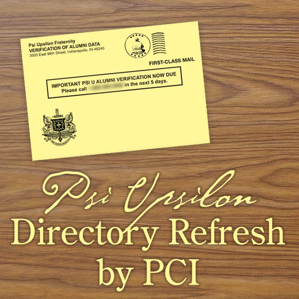 Psi U Directory Update by PCI starts Monday, Mar 16.