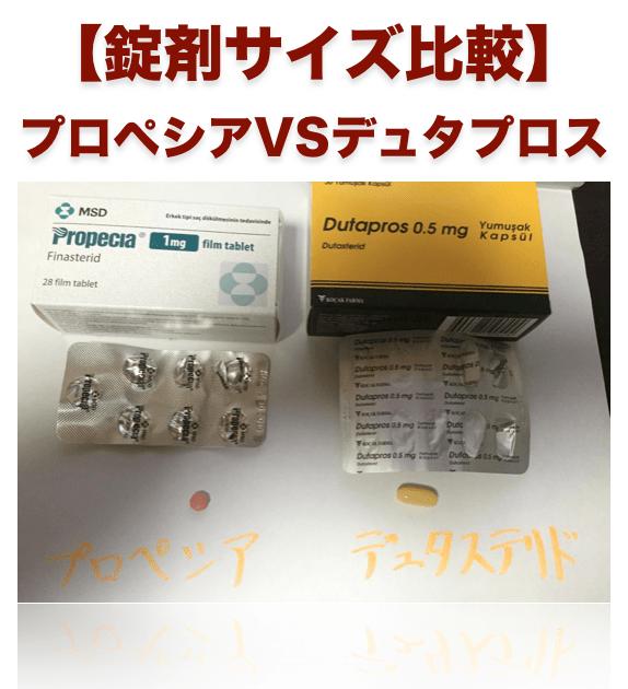 プロペシアとデュタステリドの錠剤サイズ比較